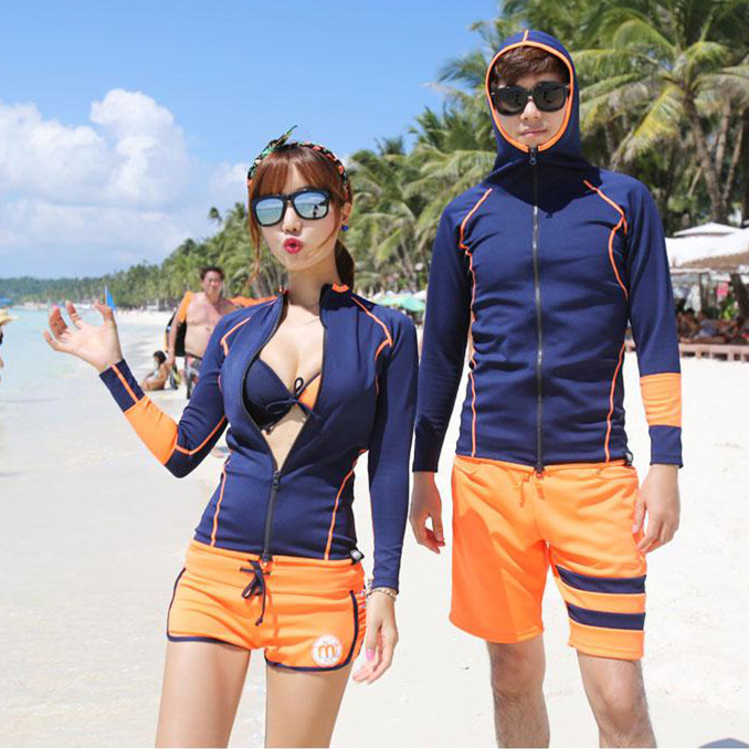 Korean diving suit female long sleeve bathing suit sun-proof jellyfish clothing split body snorkeling suit couple swimsuit suit sunscreen