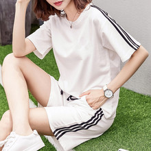 Sports suit female summer 2018 new fashion large size loose short-sleeved shorts running clothes cotton casual two-piece