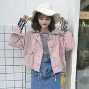 College fresh air soft short coat dresses with long sleeves Korean autumn student