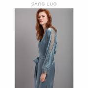Elegant lines of autumn and winter sang Luo long blue silk lace lace temperament silk robe