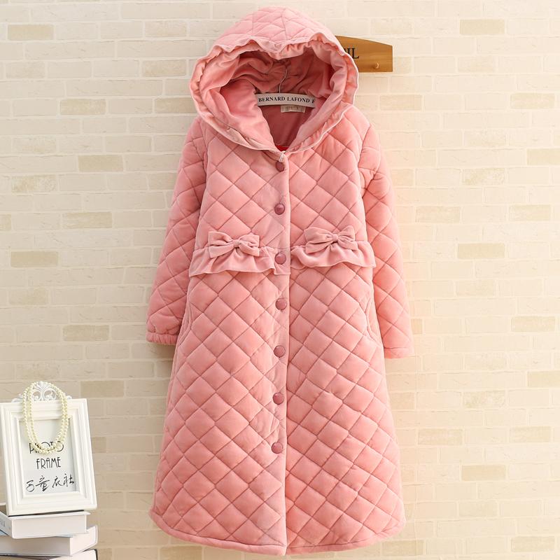 睡衣女冬季加厚小粉帽子扣子睡裙冬天保暖珊瑚绒夹棉袄可爱家居服