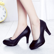 High heels, black leather shoes, women's shoes, hotel etiquette, formal students, single shoes, summer interviews, black professional women shoes
