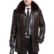 Alfred Haining old winter leather fur mink liner thick warm in the long section of male leather coat