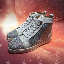 LC'N'CL diamond shoes men and women couples high help shoes silver patent leather white diamond casual sports running shoes color diamond