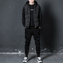 Men's sweater suit three piece winter hooded head with cashmere clothes thickened leisure sport autumn and winter coat
