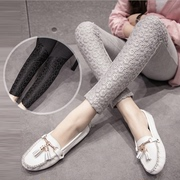 Pregnant women wearing pants leggings fall pregnant mom flashes Joker lace stitching up female abdominal slimming pants for pregnant women