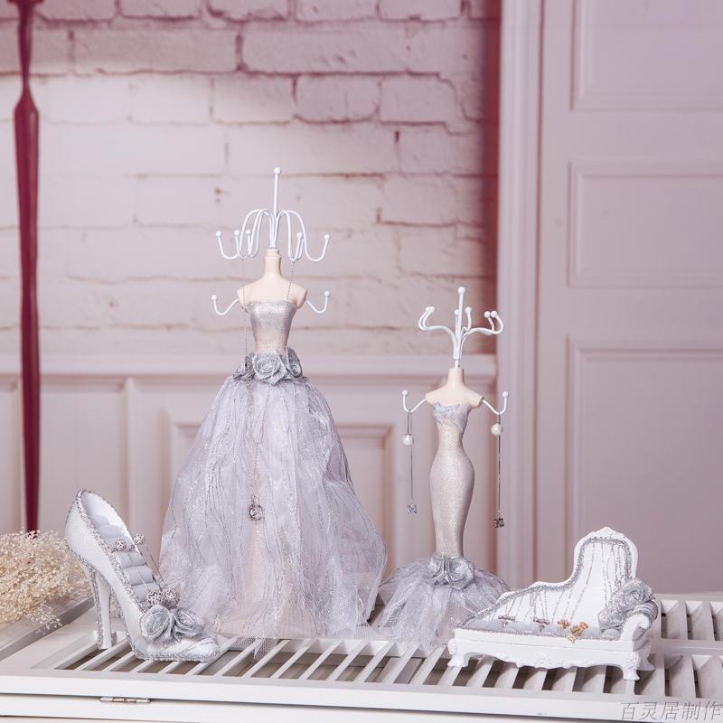 饰品收纳首饰架耳环展示架道具项链戒指架欧式公主模特架结婚礼品