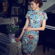 Light in spring and summer women's New Retro modified cotton folk style cheongsam dress linen short cheongsam dress female