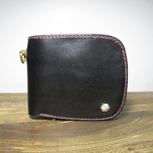 ONES WORKER of the original black cattle Choi cloth Italy fatty Tanned Leather Handmade short Wallet