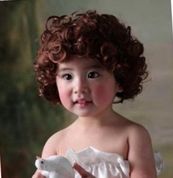 Special package mail and baby infant hair wig hair curly wig cap children model photography