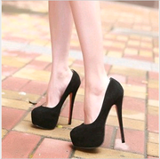 12 cm cm black high-heeled shoes, OL Japan and South Korea waterproof Taiwan, women's shoes, fine documentary shoes, sexy nightclub Princess