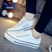 The summer low lace white canvas shoes shoes casual shoes Korean flat cloth flat with the white shoe