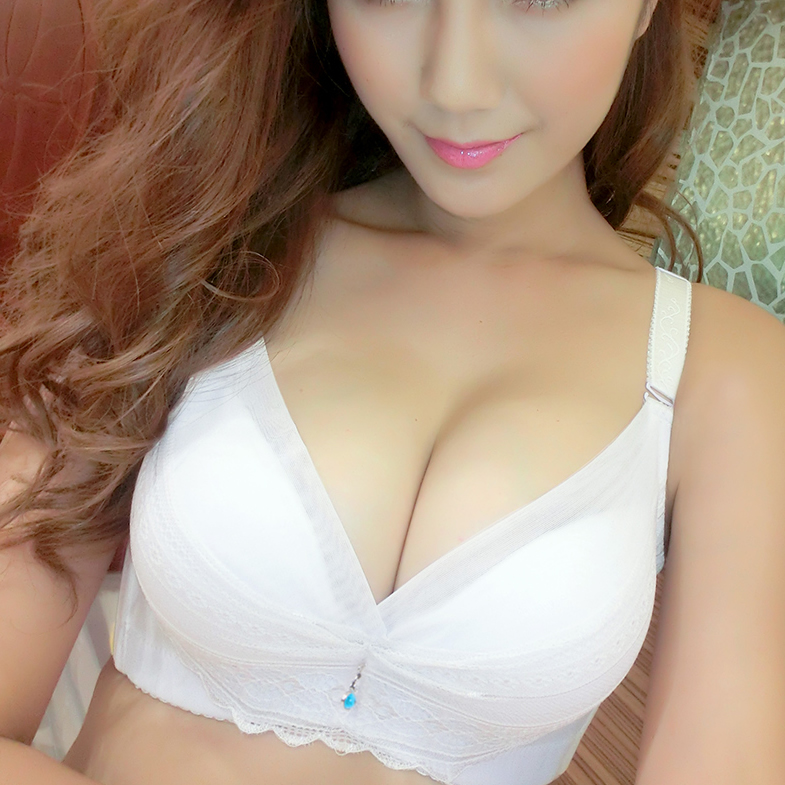 Lace white sexy small chest gather underwear adjustment type receive pair of milk less lady bra cover thickness of summer