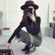 Beaded wool knitting dress new long Korean lace strap dress hem slit all-match in autumn and winter
