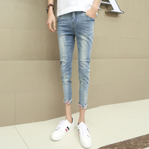 Spring summer trends 9 holes nine feet jeans men pants long pants youth England stretch slim