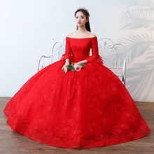2017 new wedding dress in red sleeves are shoulder to skirt the bride wedding suit thin toast