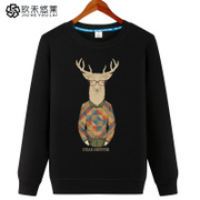 The new summer leisure coat male Korean tide - fat students loose T-shirt long sleeve head thin sweater
