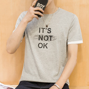 In the summer of Korean men's cotton short sleeved T-shirt printing slim Mens T-shirt bottoming shirt T-shirt Metrosexual half sleeve T-shirt t