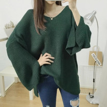 XL extra large ladies chubby mm autumn and winter plus fertilizer fat sister trumpet sleeve sweater sweater coat 200 kg