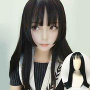 Unisex Black long straight hair wig received cos type scroll with animation Cosplay drag drag queen million fake hair