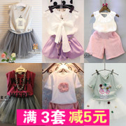 A variety of broken code clearance shipping section of Korean children summer girls T-shirt skirt shorts two piece suit for children