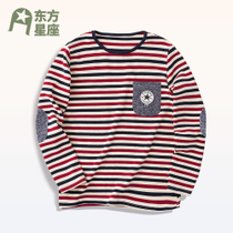 Pure cotton stretch kids boys long-sleeve t-shirt stripes fall children in childrens knitted shirts at the end of t shirt
