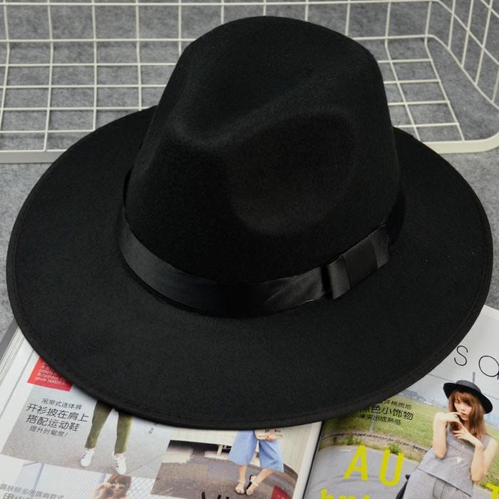 上海滩许文强复古黑色大檐英伦爵士帽礼帽男女士舞台儿童表演帽子