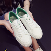 Spring and summer white shoe leather strap all-match white canvas shoes casual shoes flat shoes female Korean Students