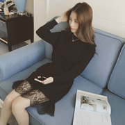 Korean winter in the long long sleeved knit dress lace hem stitching backing loose T-shirt sweater dress female