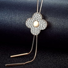 Clover crystal long paragraph sweater chain necklace Korea fashion dress accessories and ornaments all-match simple woman