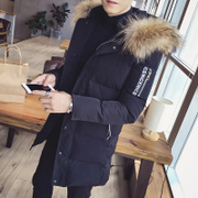 In the long winter cotton padded male Hooded Jacket slim young Korean thickened Metrosexual fashion cotton coat