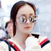 Yang Mi with paragraph glasses 2017, Korean sunglasses, female tide star, pink transparent round face, GM sunglasses, myopia
