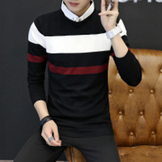 Autumn and winter men's sweater shirt Korean students trend 2017 new fake two shirt collar sweater boy