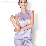 Saantoro 2017 spring clearance special new silk mulberry home dress, sexy silk pajamas suit, elegant fashion
