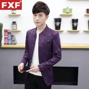 Men's suit male Korean printing small slim collar tunic suit coat young handsome gown tide of leisure