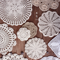 Sheng {wood} の falls in love with beige cotton hand crocheted vintage hollow insulating towels coasters zakka shoot props