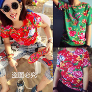Northeast cloth ethnic Chinese character printing t shirt t shirt large Northeast City boy short sleeve flowers in summer