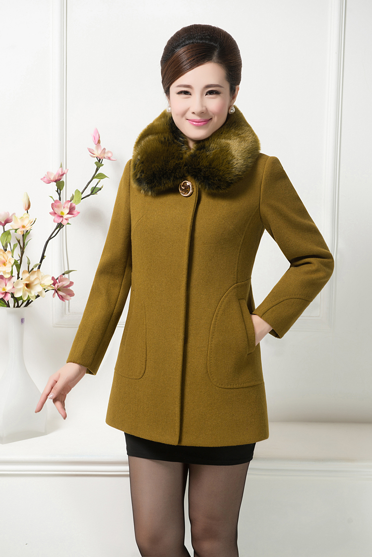 Winter old wool woolen cloth coat dress really proof collars coat long big yards in the mother
