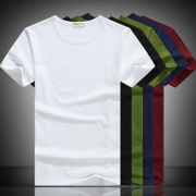 Men's short sleeve T-shirt in summer T-shirt bottoming shirt black white blank solid hand-painted Korean slim