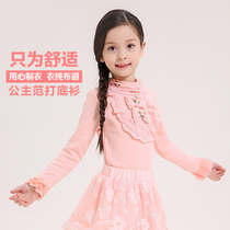 Childrens wear clothing brand plain sermons girls play shirts at the end of spring in the Korean version of Princess lace long sleeve children tops t-shirt