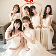 Sister group bridesmaid dresses in the spring and summer long champagne color sister skirt thin bridesmaid dress short graduation small dress female