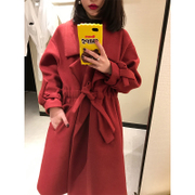 2017 new spring cloth coat girls long thick thin knee Korean lace wool woolen coat