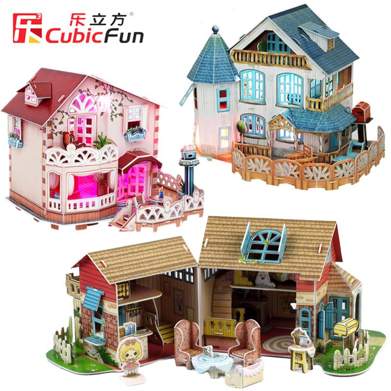 乐立方3D立体拼图益智diy小屋房子拼图模型儿童玩具手工生日礼物