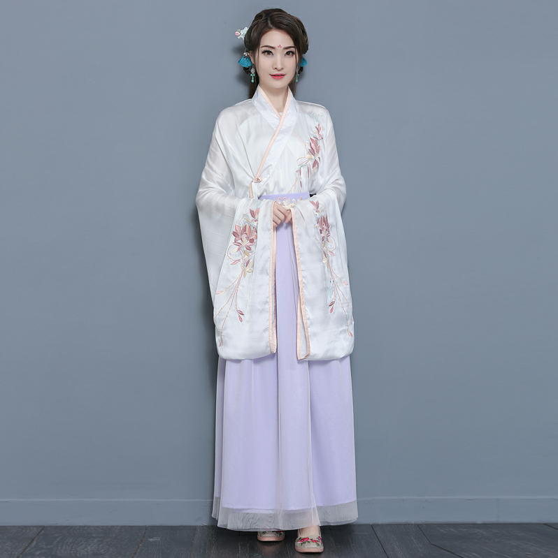 Real shot, traditional Chinese Hanfu, spring and summer, bead embroidery, big sleeve, pink collar, daily performance clothes