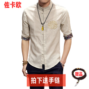 Summer youth COSTUME SHIRT short sleeved shirt collar Chinese male linen cotton Pankou Chinese wind half sleeve clothes