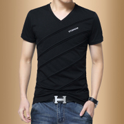 Men's short sleeved T-shirt V collar cotton summer Korean fashion trend of men's half sleeve student clothes