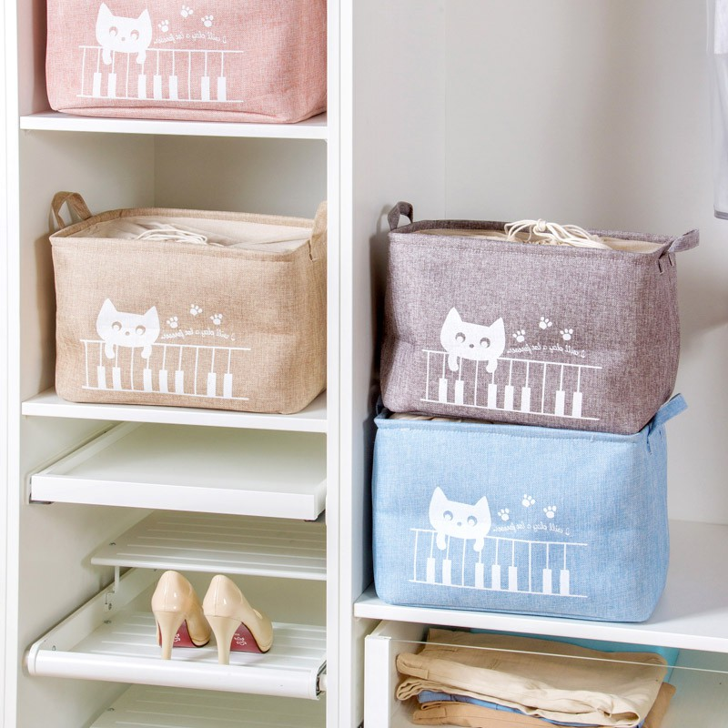 Home home receive cotton and linen basket clothings toy boxes cloth art receive blue sundry receive a box to snack on receive basket
