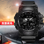 Fall proof double explicit watch backlit dual movement watches sports stopwatch fall watch edition sports stopwatch