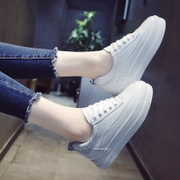 Muffin thick bottom white shoe female Korean new lace shoes all-match 2017 autumn student flat shoes