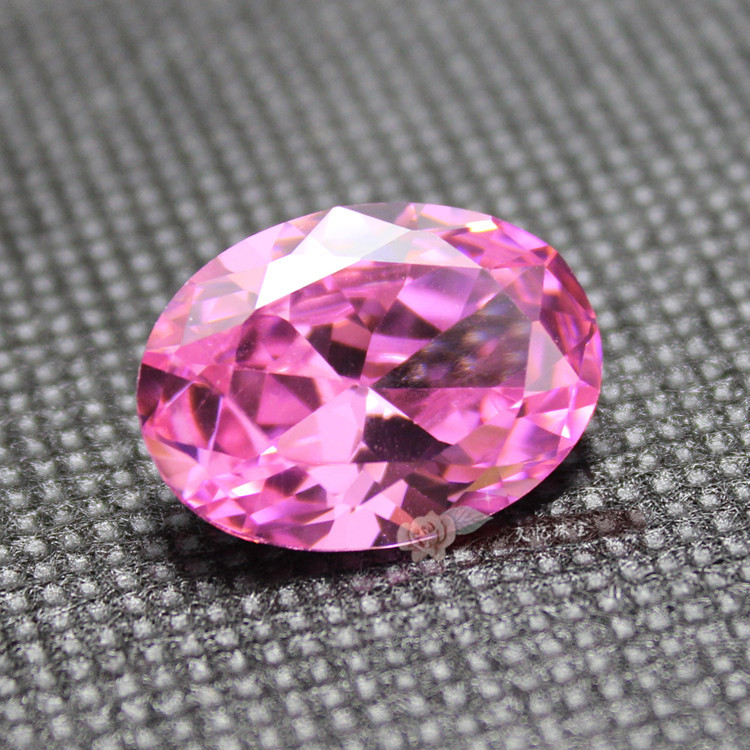 Selection of powder zirconium egg shaped pink zircon powder, diamond bottom, oval shaped, color zirconium bare stone, 5A class national wind Pendant